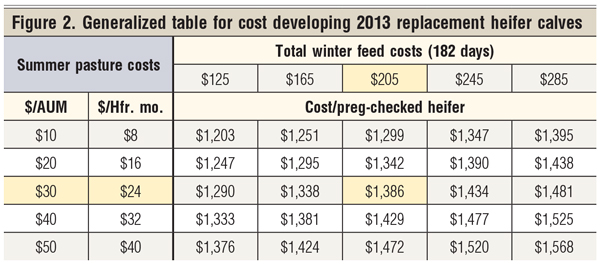 cost of raising replacement heifers