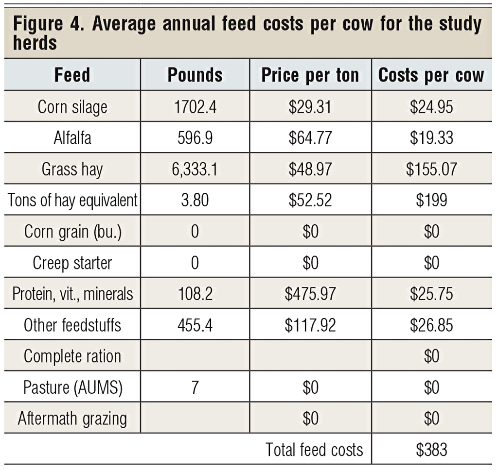 average annual feed costs per cow