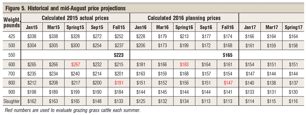 historical price projections for cattle