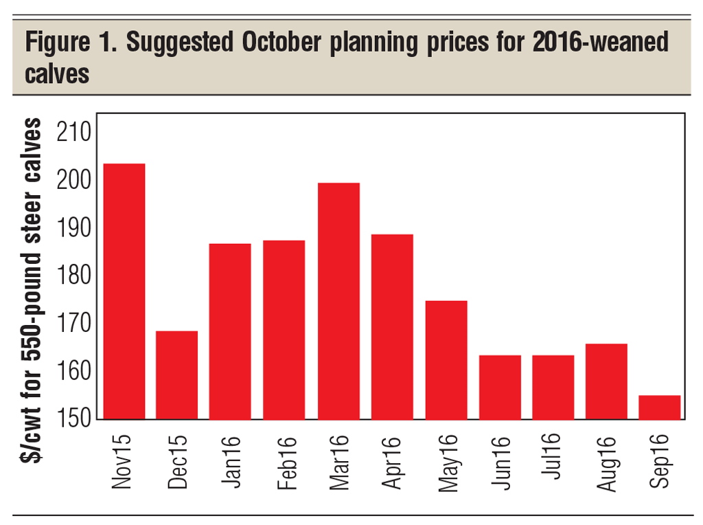 October planning prices for 2016-weaned calves