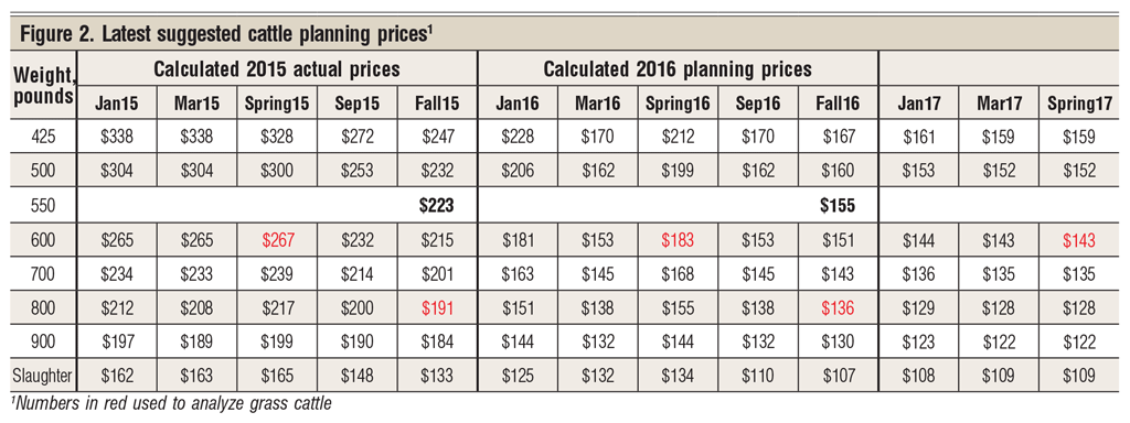 Suggested cattle planning prices