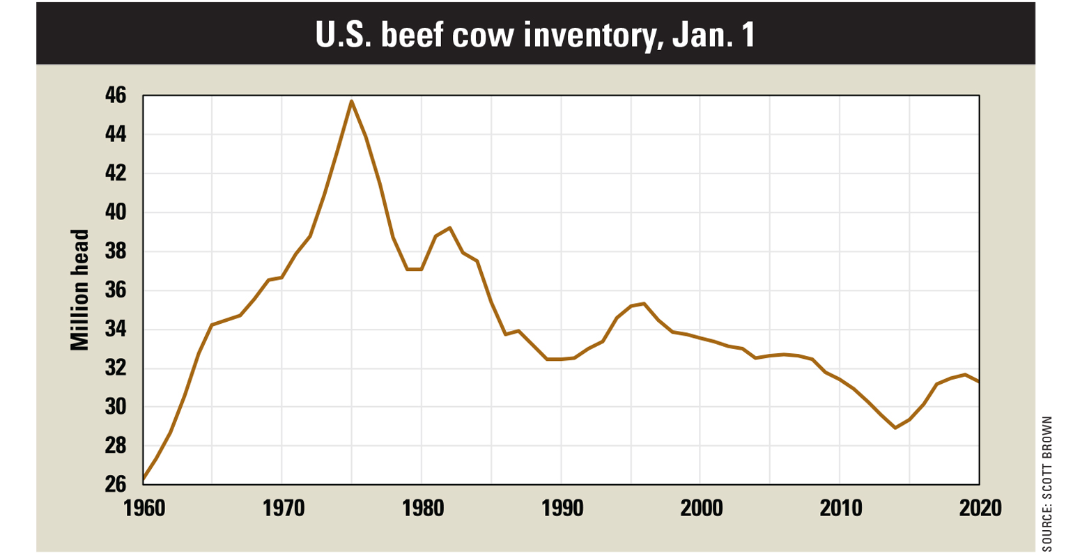 U.S. beef cow inventory chart