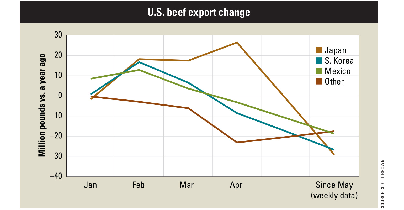 A graph illustrating the change in U.S. beef exports